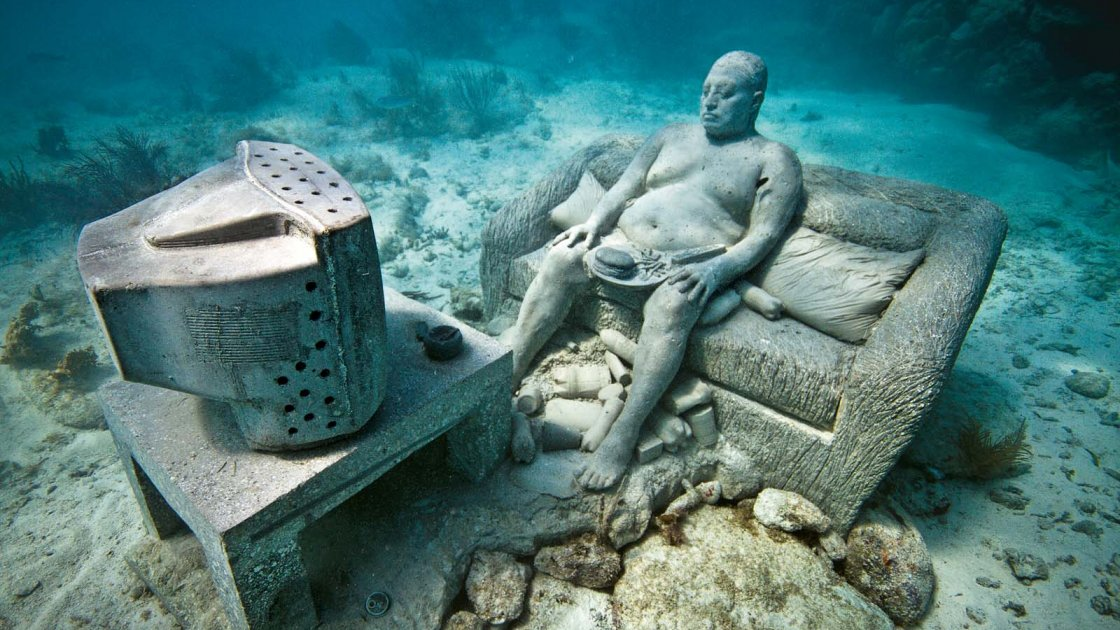 Подводный музей в Мексике «Тихая эволюция»- телевизор