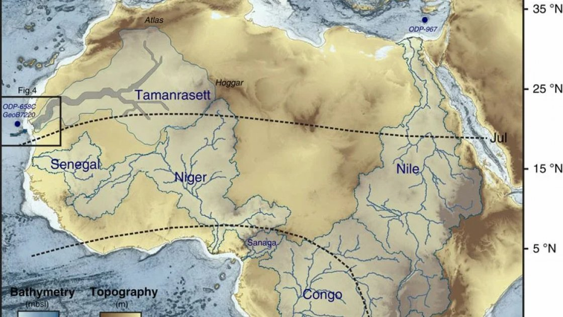 Карта с предполагаемым местонахождением реки Таманрассет