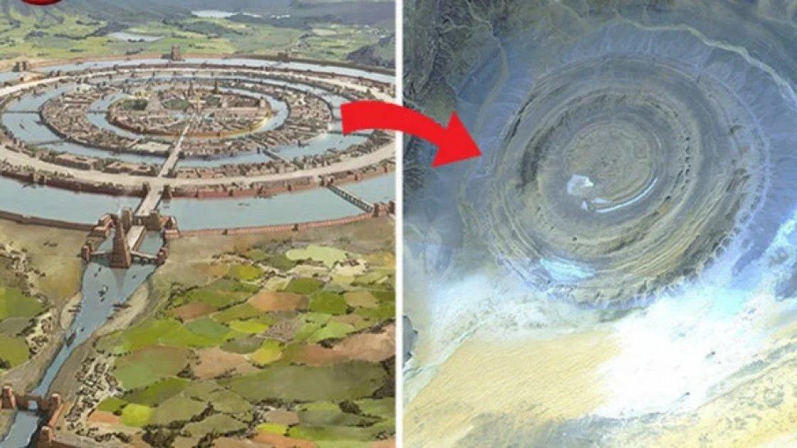 Сравнение реконструкции Атлантиды и снимка Ока Сахары из космоса