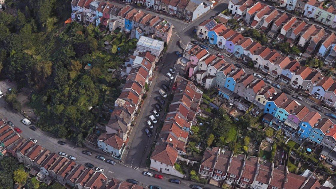 Район вокруг Вейл-стрит (по центру) - вид сверху