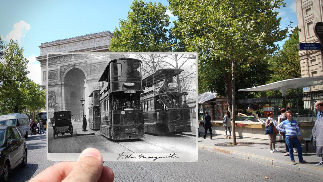 Двухэтажные трамваи в Париже и Триумфальная арка