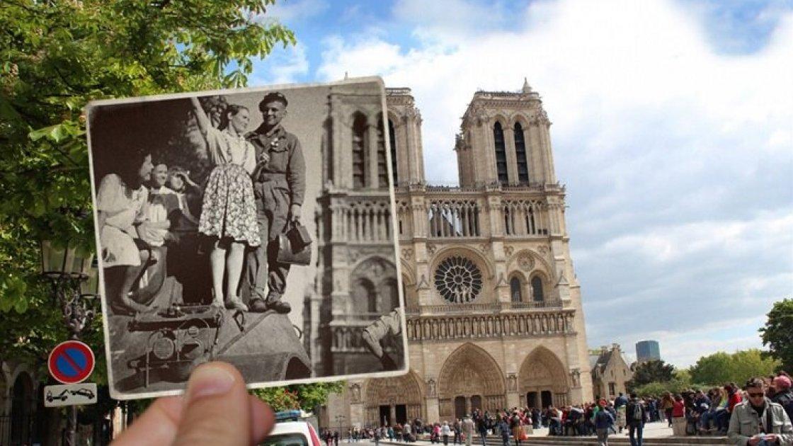 Освобождение Парижа, 25 августа 1944 года, радостная сцена на фоне сгоревшего Собор Парижской Богоматери
