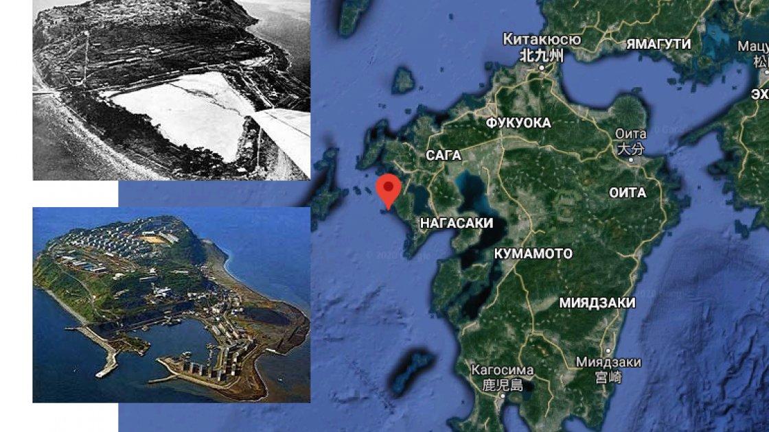 Фото острова с прудом и с гаванью, а также остров Кюсю на карте с отмеченным точкой островом Икэсиму