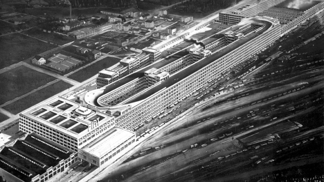 Вид сверху на здание завода Fiat Lingotto