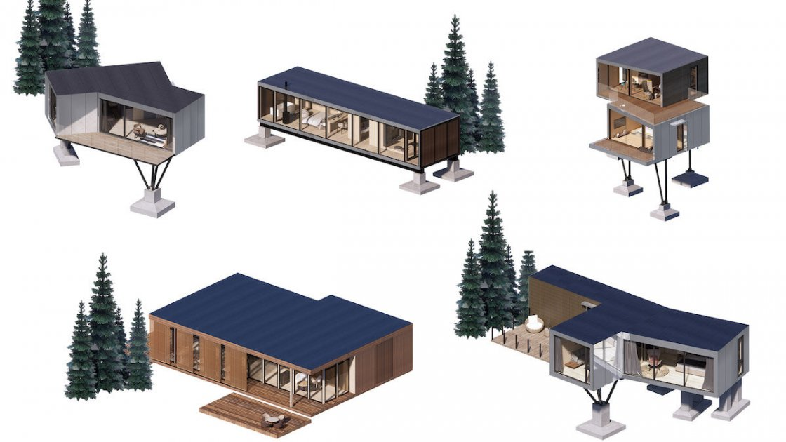 Типы сборных домов для отеля Mountain and Cloud Cabins