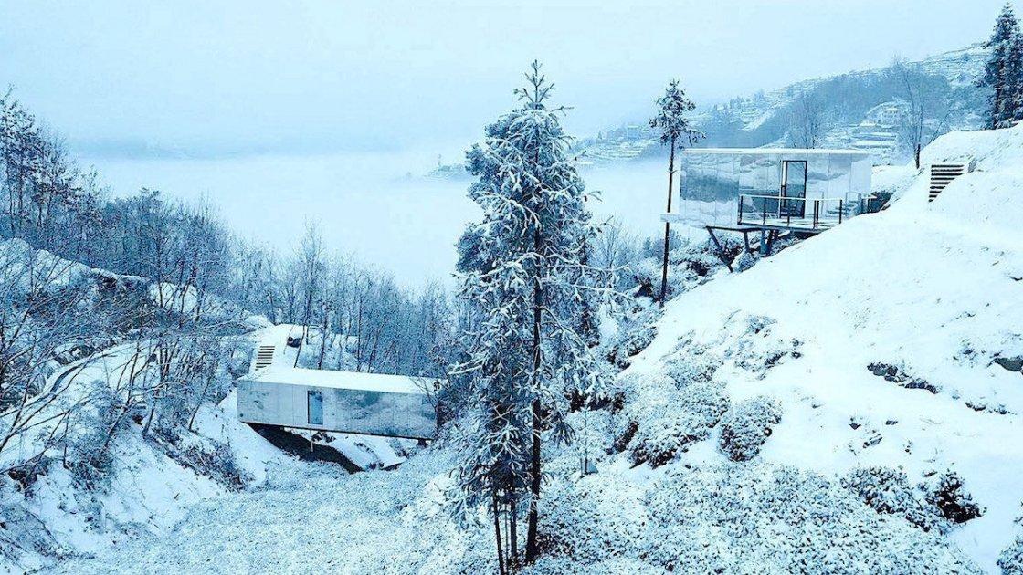 Зимний вид на часть Mountain and Cloud Cabins
